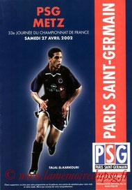 Programme  PSG-Metz  2001-02