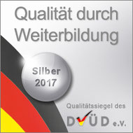 """Silberes DVÜD-Siegel """"Qualität durch Weiterbildung"""" 2017"""