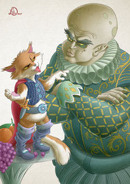 fairy tale illustration_Puss in boots try to cheat the ogre