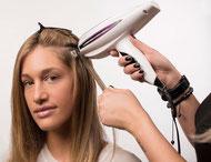Haarverlängerung anmodulieren mit Laserbeamer Nano