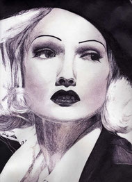 art dessin draw drawing marlene dietrich crayon3B crayon illustration portrait
