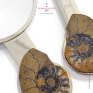 Set lente tagliacarte  con ammoniti autentiche - fossili