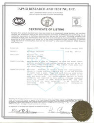 Certificate of Listing-IAPMO