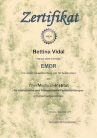 Bettina Vidal hat die Ausbildung EMDR absolviert
