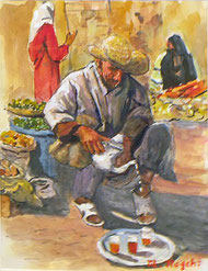 茶を入れる男 ( 水彩・F6 )