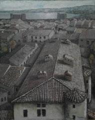 風景-海の見える古い街並み