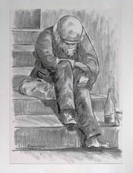 Nr. 3481 Clochard auf Treppe