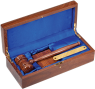 "10"" Genuine Walnut Gavel with Block and Case"