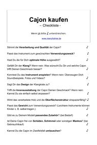Cajon kaufen PDF Checkliste gratis