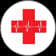Rotes Kreuz mit EKG-Linie