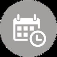 Kalender und Uhr in einer Kreisgrafik.