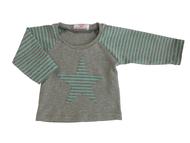 Newborn-Longsleeve mit Stern, türkis,grau geringelt, Herzkind, faire Kindermode, handmade in Berlin