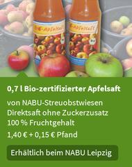 0,7 l  Bio-zertifizierter Apfelsaft von Streuobstwiesen • Direktsaft ohne Zuckerzusatz • 100 % Fruchtgehalt • 1,10 € + 0,25 € Pfand