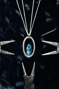Aquamarin Collier aus Weissgold mit Diamanten by Christian Stockert - Foto by Matthias Baumbach