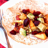 Fruit-Filled Breakfast Egg Tacos with Pistachios