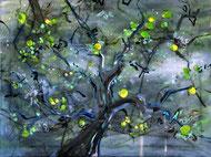 Apfelbaum (bei Nacht) Öl auf Leinwand 40 x 30 cm