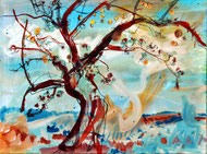 Apfelbaum (auf Blau), Öl auf Leinwand, 40 x 30 cm