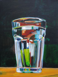 Wasserglas Öl auf Leinwand 80 x 60 cm