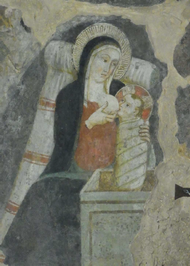 Stillende Mutter Gottes, Ausschnitt des Grottenfreskos, 14. Jhdt., Franziskanisches Heiligtum der Krippe, Greccio