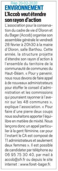 Annonce de l'AG de l'association Association pour la Conservation du Cadre de vie d'Oloron et du Bager sur le journal La République des Pyrénées