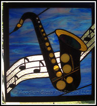 Musical Saxophone Stained Glass Panel
