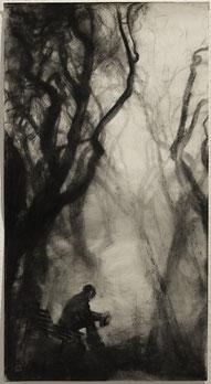 """""""Saschas Erinnerung III"""", 74 × 40cm, Kohle auf Papier, 2020"""