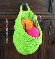 Canasta colgante tejida en trapillo con crochet XL!