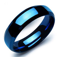 Edelstahlring blau poliert