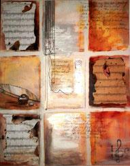 """Musik"" Acryl/Collage auf Leinwand 70x100 cm"
