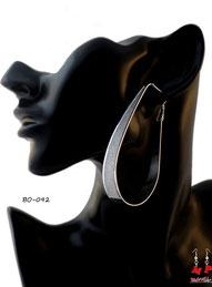 Boucles d'oreilles anneaux ovales et paillettes argentées