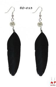 Boucles d'oreilles pendantes plumes noires et perles nacrées