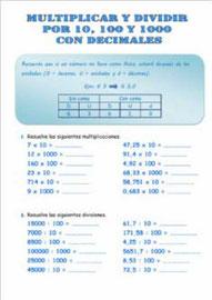 Multiplicar y dividir por 10, 100 y 1000 con decimales