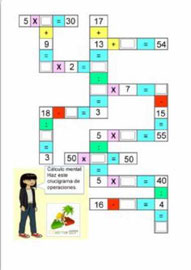 Crucigrama para cálculo mental