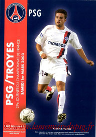Programme  PSG-Troyes  2002-03
