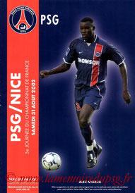Programme  PSG-Nice  2002-03