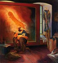 """Lukas Johannes Aigner, """"Wird schon wieder gut"""", Acryl/Öl auf Leinwand, 130x120, 2005"""