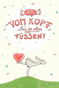 Hase und Herz, Total verliebt, vom Kopf bis zu den Füßen! Valentinstag, Liebe, Judith Ganter Illustration und Geschenkartikel bei Redbubble