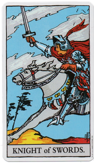 ソードのナイトのタロットカード