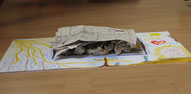 Erschöpfung: mit Zeitungsspapier ist Mitte abgedeckt, darunter sind von der Seite zusammengeknülltes Zeitungspapier zu sehen. Was ist zugedeckt? Was wird verdeckt? Was möchte, kann oder will ich nicht zeigen, was darf nicht gesehen werden?