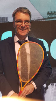 Professor Thomas Scheibel of Biosteel presented a racket made of artificial spider threads