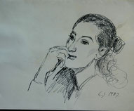 Pen and ink prtrait of me by Louise Jehly 1987