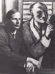 """Günther Franke vor dem """"Selbstbildnis mit grauem Schlafrock"""" von Max Beckmann 1941. Foto: Hugo Erfurth"""