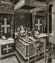 Effigie d'Henri IV. Gravure de Quesnel, vers 1610 (Source : Gallica 2010, téléversé par Robert Allen, Wikipedia)