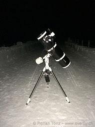 Skywatcher Teleskop N 200/1000 Explorer BD NEQ-5 auf der Staumauer in Zervreila