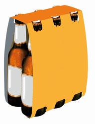 Sechserträger aus Kraftkarton für Bierflaschen