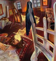 """Lukas Johannes Aigner, """"Wie Bilder entstehen""""Acryl/Öl auf Leinen, 130x120cm, 2005"""