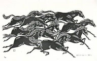 山本一力さんが仕事場にかざってくれている『馬九行久(うまくいく)』の図。一部で「直木賞請負人」といわれている原田と一力さんのエピソードは「リンク集」をご覧ください。
