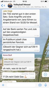 Liveticker der WhatsApp-Gruppe