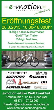Eröffnungsfest zum e-Bike Saisonstart 2015 in der e-motion e-Bike Welt Frankfurt