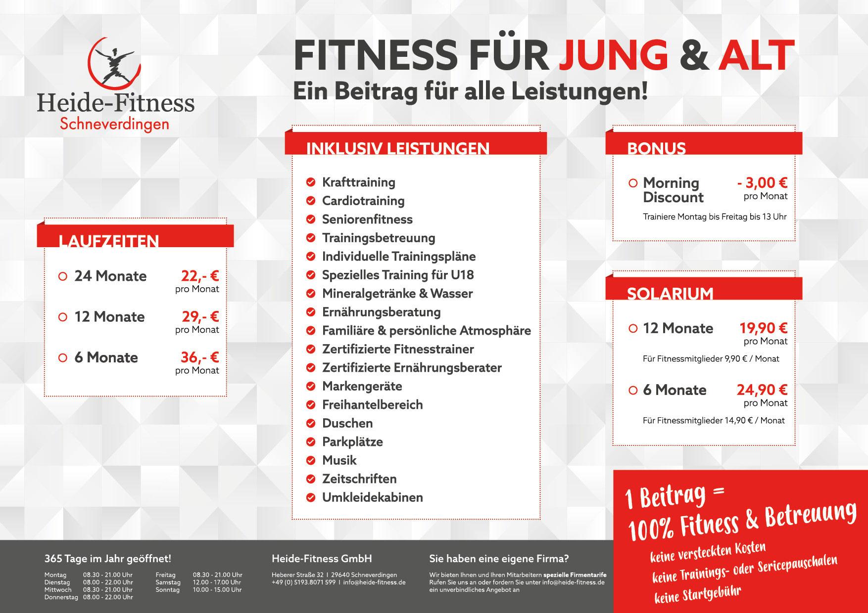 Tarife - Heide-Fitness Schneverdingen